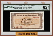 TT PK 109 1944 AUSTRIA 50/ SCHILLING ALLIED OCCUPATION PMG 65 EPQ FINEST KNOWN