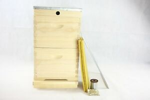 20 FRAME DOUBLE BEEHIVE STARTER PACK +EYELETS WAX SHEETS & EXCLUDER BEE HIVE