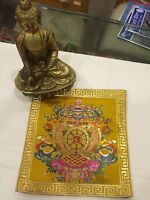 Tibetan Auspicious Symbol silk brocade table cover/ altar cloth/ shrine placemat