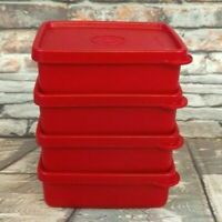 Tupperware Small 6oz Mini Square A Way Keepers Set of 4 Lunch Box Travel Bag