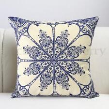Blue Porcelain Printing Mandala Cotton Linen Pillow Cushion Cover Home Sofa