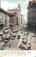 BROADWAY LOOKING NORTH NEW YORK TROLLEY USED IN CANADA POSTCARD 1907
