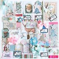 Christmas Junk Journal Kit 75+ Items Pink & Teal Themed Christmas Cards, Papers