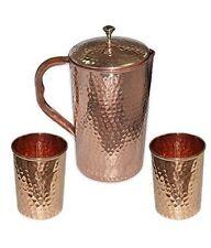 WATER JUG & 2 GLASSES COPPER Ayurveda Health BENEFITS 100% COPPER PITCHER