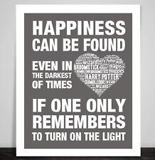 Art Print Poster Harry Potter Dumbledor Happiness Quote Prisoner of Azkaban