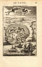 DODECANESE. The Citadel of Rhodes. Ships. Greece. Aegean. MALLET 1683 print