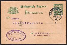 Vintage German 'Konigreich Bayern' 1900 Postcard Nuernburg