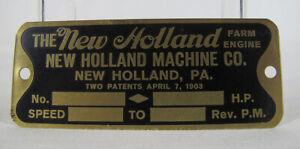 Vintage ORIGINAL Unused 1903 New Holland Machine Co Farm Engine Brass Plate  yqz