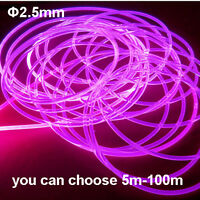 Side Glow PMMA Fiber Optic Cable 2.5mm 5-100m Home/Car use Atmosphere Light Cabl