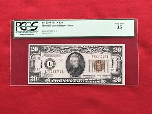 FR-2305 1934 A Series Hawaii WWII $20 Federal Reserve Note *PCGS 35 Choice VF*