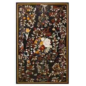 "48"" x 30"" Marble Coffee Table Top Pietra Dura Inlay Handmade Home Decor"