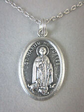 """St Martin de Porres w/ Dog and Cat Medal Italy Pendant Necklace 20"""" Chain"""