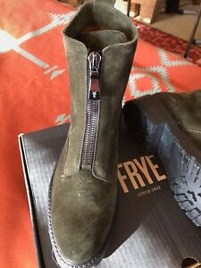 """Frye Combat style Boots - """" Julie Front Zip """" - Olive Suede  -  Size 11 - NWB"""