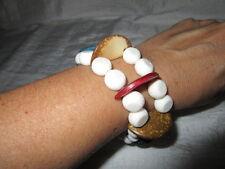 Armband  Holz und Kunstperlen Weiß Bunt Dehnbar Sommer