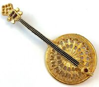 Banjo Brooch Musical Instrument Pin Vintage Rhinestone Gold Tone Metal Enamel