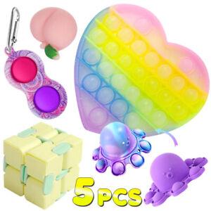 5pcs Sensory Fidget Toy Keychain Popit Bubble, Anti Stress Ball Infinite cube
