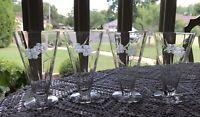 4 - Vintage -Hand  Blown -Etched -Cut -Crystal Goblets-Flute Glasses - Stem