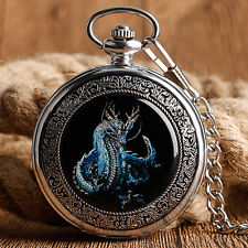 Vintage Dragon Roman Numerals Silver Mechanical Hand Winding Pocket Watch Chain
