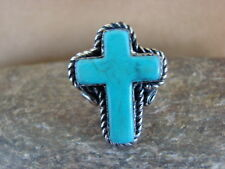 Size 5 1/2, by Phoebe Tolta Native American Nickle Silver Turquoise Cross Ring