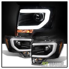 Black 2009-2014 Ford F150 Raptor SVT Frost LED Tube DRL Projector Headlights Set