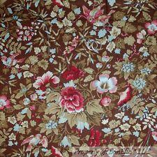 BonEful Fabric FQ Cotton Quilt VTG Brown Pink Tree Leaf Flower Bird Shabby Chic