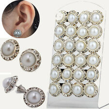 12pairs Wholesale Elegant Crystal Rhinestone Ear Stud Pearl Wedding Earring AA+
