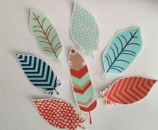 7 Lucky Feathers - Iron On Fabric Appliques