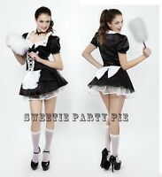 Sexy Rocky Horror French Maid Fancy Dress Costume Outfit Hen Party Size 8-18