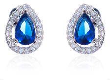 Drop Cut Blue Sapphire CZ Halo Clear CZ Genuine Sterling Silver Stud Earrings