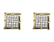 10K Yellow Gold Square Kite Vintage Wood-like Frame Diamond Stud Earring 1/4ct.