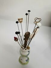 Vintage Hat Pin Holder w/14  Hat Stick Pins Vintage and Antique Vanity Jewelry