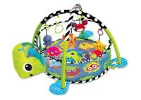 Baby Playmat  3in1 Activity Turtle Floor W/ Ball Pit & Sensory Toys Play Mat
