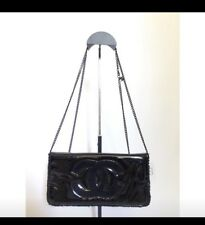 New Chanel VIP Clutch Cross body Black Bag with CC Logo and CC charm