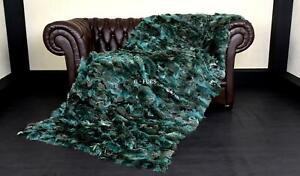 Luxury Real Green Fox Fur Blanket