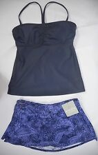 NWT Athleta 38B/C Bandeau Tankini Dress Blue & XL Splash Playa Swim Skirt 2 Pce