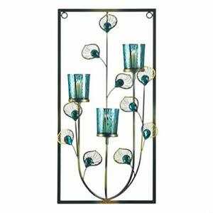 Peacock Rectangular Three-Candle Wall Sconce