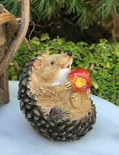 Miniature Dollhouse FAIRY GARDEN ~ Mini Hedgehog Figurine On Back w Apple ~ NEW