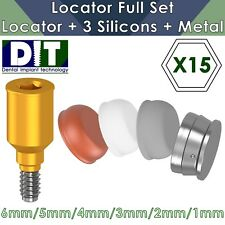 15 X Dental Implant Locator Click-Attachment + 3 Silicons + Metal Housing (Cap)