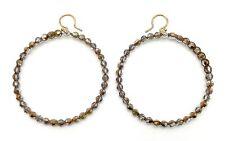 """CHAN LUU Crystal Dorado Swarovski Crystal On Brown Wax Hoop Hook Earrings 2 3/4"""""""