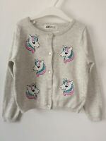 BNWT H&M SEQUINED COTTON CARDIGAN GREY UNICORN SIZE 6-7-8 YRS