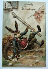 Fantasy Dressed EASTER Rabbit Falls & Spills EGGS Gold Embossed Postcard
