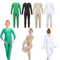 Kids Girls Long Sleeve Ballet Gymnastics Dance Leotard Jumpsuit Unitard Bodysuit