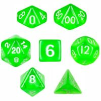 Wiz Dice Translucent Green Polyhedral Dice, Set of 7