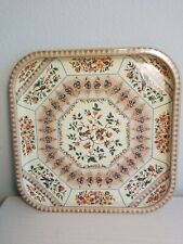 Square Tin Tray With Floral And Bird Design By Daher 13.5 Inches