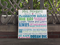 Colorful Classroom Rules Custom Canvas, Personalize FREE, Perfect Teacher Gift