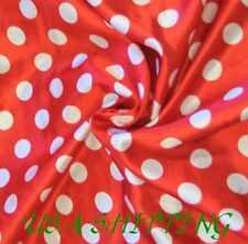 "Polka Dot RED White SHINY SATIN 100% Polyester Pantie Lingerie Fabric 60"" BYD"
