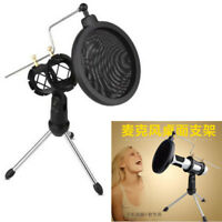 Universal Microphone Mic Shock Mount Pop Filter Desktop Tripod Stand Holder Kit