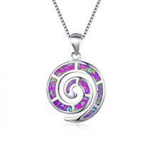 New Fashion Silver Purple Imitation Opal Necklace Pendant Xmas Birthday Jewelry