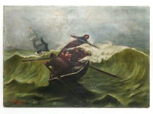L. L. DAVIDSON (AMERICAN 20TH C) SIGNED/1903 MARITIME O/C 4 FISHERMEN IN A GALE