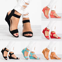 Womens Ladies Wedge Heel Buckle Sandals Summer Party Casual Ankle Strap Shoes